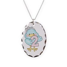 2nd Birthday Bird Necklace Oval Charm