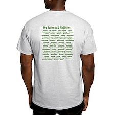 Green Laurel checklist on white Ash Grey T-Shirt