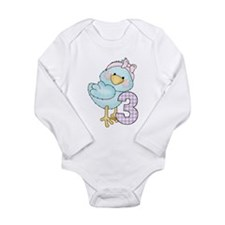 3rd Birthday Bird Long Sleeve Infant Bodysuit