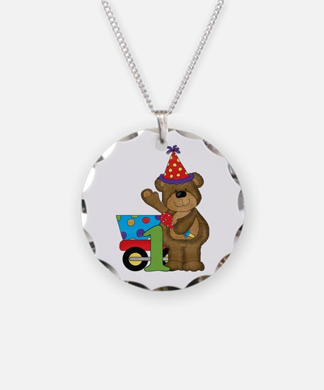 1st Birthday Bear Necklace Circle Charm