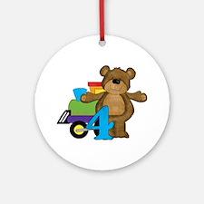 4th Birthday Bear Ornament (Round)