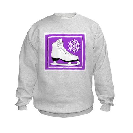 Purple Ice Skate Kids Sweatshirt