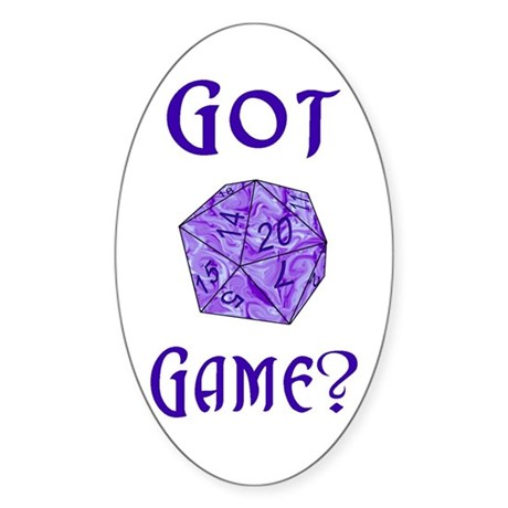 d20 Got Game? Oval Sticker