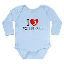 I Heart Volleball - Girl Long Sleeve Infant Bodysu
