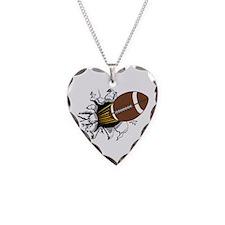 Football Burster Necklace Heart Charm