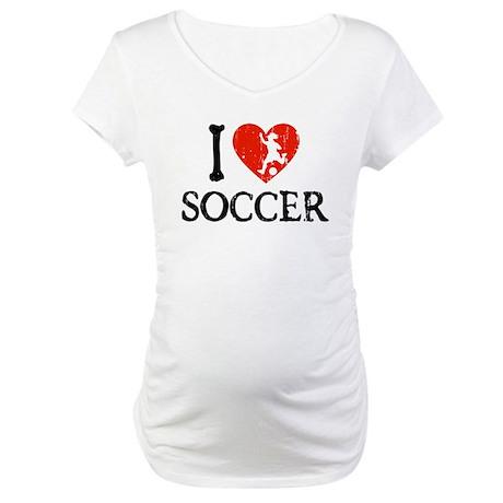 I Heart Soccer - Girl Maternity T-Shirt