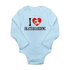 I Heart Skateboarding Long Sleeve Infant Bodysuit
