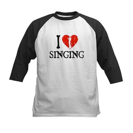 I Heart Singing - Girl Kids Baseball Jersey