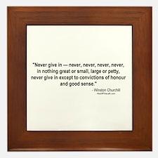 Winston Churchill: Never give in Framed Tile