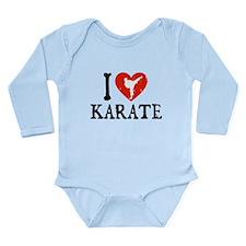 I Heart Karate - Girl Long Sleeve Infant Bodysuit
