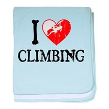 I Heart Climbing - Woman baby blanket