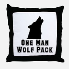 One Man Wolf Pack Throw Pillow