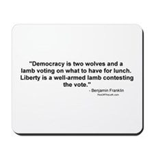 Churchill: Democracy is two wolves Mousepad