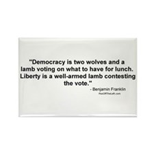Churchill: Democracy is two wolves Rectangle Magne