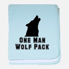 One Man Wolf Pack baby blanket