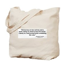 Churchill: Democracy is two wolves Tote Bag