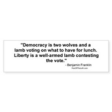 Churchill: Democracy is two wolves Car Sticker