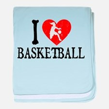 I Heart Basketball - Girl baby blanket