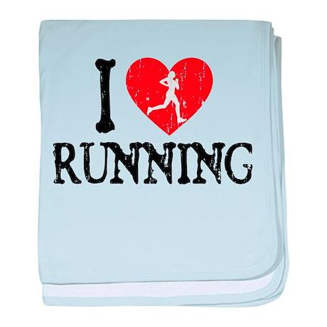 I Heart Running - Girl baby blanket