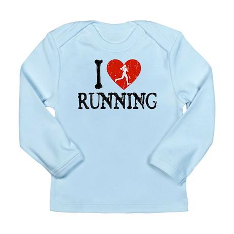 I Heart Running - Girl Long Sleeve Infant T-Shirt