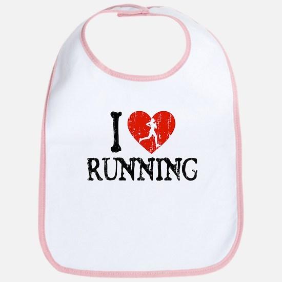 I Heart Running - Girl Bib