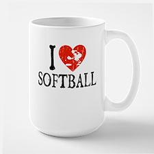 I Heart Softball - Girl Large Mug