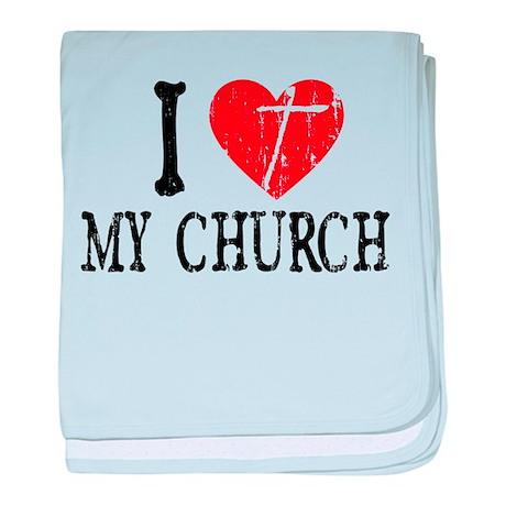 I Heart My Church baby blanket