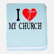 I Heart My Church baby blanket