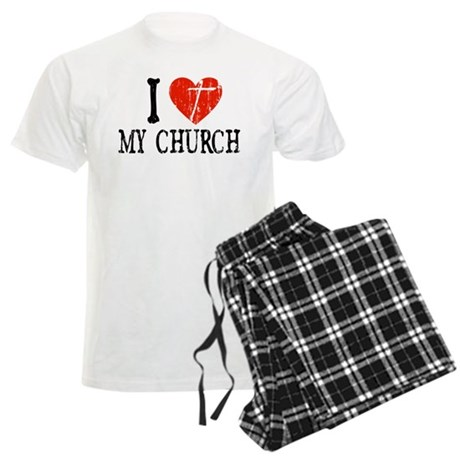 I Heart My Church Men's Light Pajamas