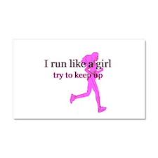 I Run Like a Girl Car Magnet 20 x 12