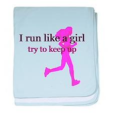 I Run Like a Girl baby blanket