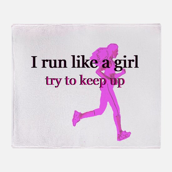 I Run Like a Girl Throw Blanket