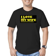 Funny my wife football Men's Fitted T-Shirt (dark)