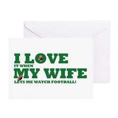 Funny my wife football Greeting Cards (Pk of 20)