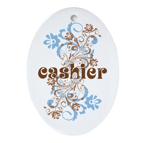 Cashier Check Wedding Gift : Cashier Gift Ornament (Oval) by occupationmugs