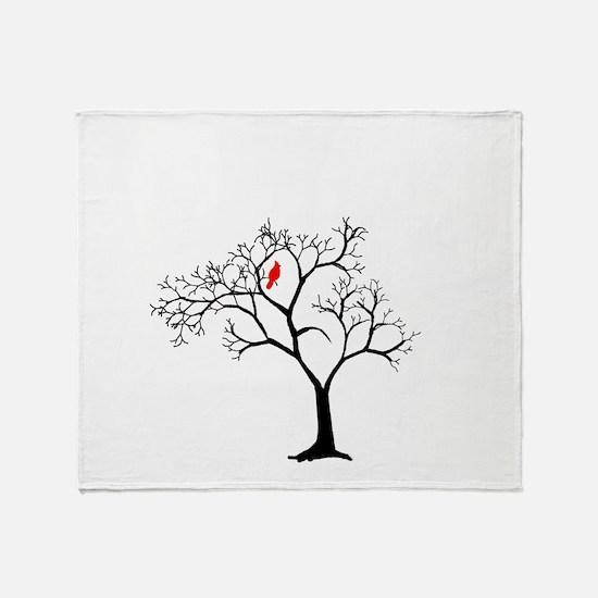 Cardinal in Snowy Tree Throw Blanket