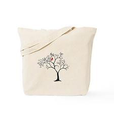 Cardinal in Snowy Tree Tote Bag