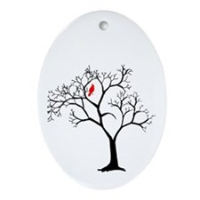 Cardinal in Snowy Tree Ornament (Oval)