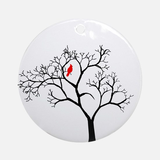 Cardinal in Snowy Tree Ornament (Round)