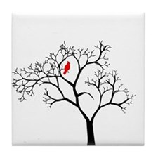 Cardinal in Snowy Tree Tile Coaster