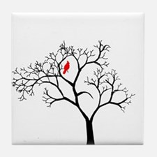 Cardinal in Snowy Tree Tile Coaster