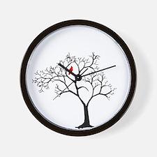 Cardinal in Snowy Tree Wall Clock