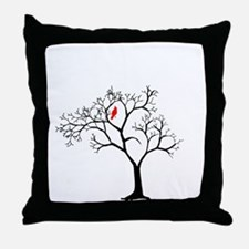 Cardinal in Snowy Tree Throw Pillow