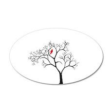 Cardinal in Snowy Tree 22x14 Oval Wall Peel