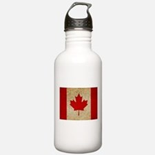 Faded Canadian Flag Sports Water Bottle