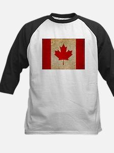 Faded Canadian Flag Kids Baseball Jersey