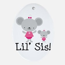 Little Sister Pink Mouse Ornament (Oval)