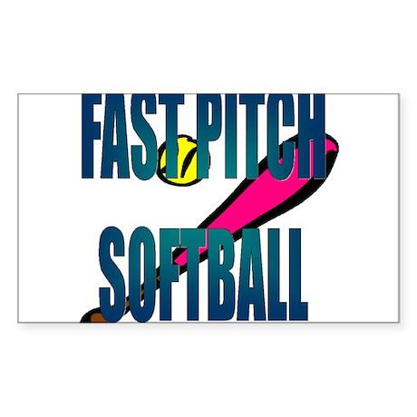 Softball FastPitch Rectangle Sticker