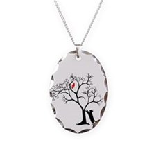 Red Bird in Tree with Cat Necklace