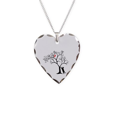 Red Bird in Tree with Cat Necklace Heart Charm